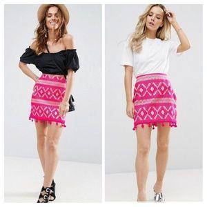 New Asos Pink Geometric Jaquard Pom Pom Mini Skirt